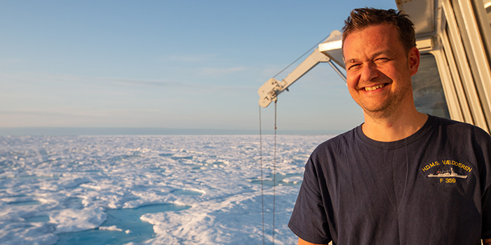 Colin Stedmon in the Fram Strait. Photo: Lawrence-Hislop.