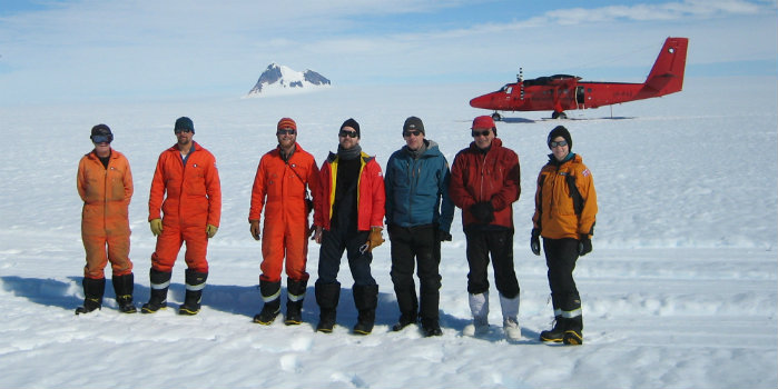 DTU Space and University of Leeds scientists on joint mission in Antarctica January 2018 to conduct airborne and in-situ satellite validation for ESA at Stange Ice shelf, at the Antarctic Peninsula. (Photo: DTU Space)